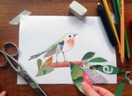gezeichneter Vogel mit Papiercollage